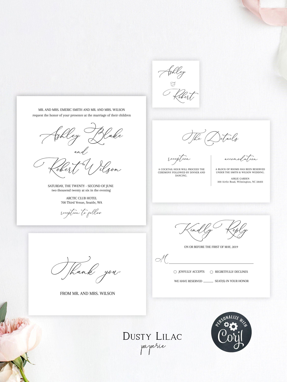Minimalist editable and printable wedding invitation suite rsvp and details card minimalist wedding invite W3 templett editable invite