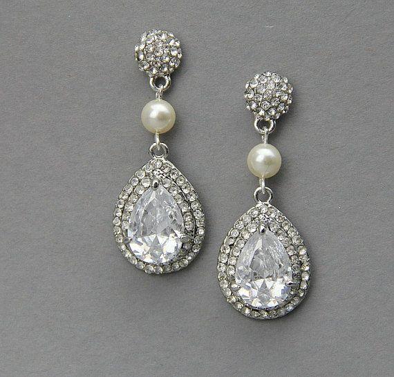 Bridal pear drop earrings, Wedding crystal  pearl earrings ,wedding jewelry ,  rhinestone drop earrings ,vintage wedding jewelry- Style 451