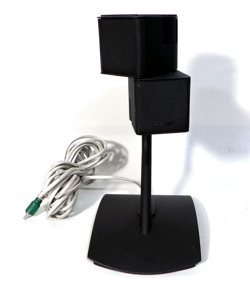 hight resolution of black bose premium jewel double cube speakers with stands and wire bose