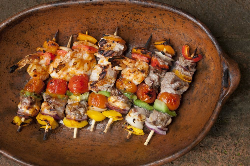 Brochetas are made with meat, chicken or shrimp and peppers, grilled on a stick #Gastronomy #PuertoVallarta #Mexico #Travel #Food