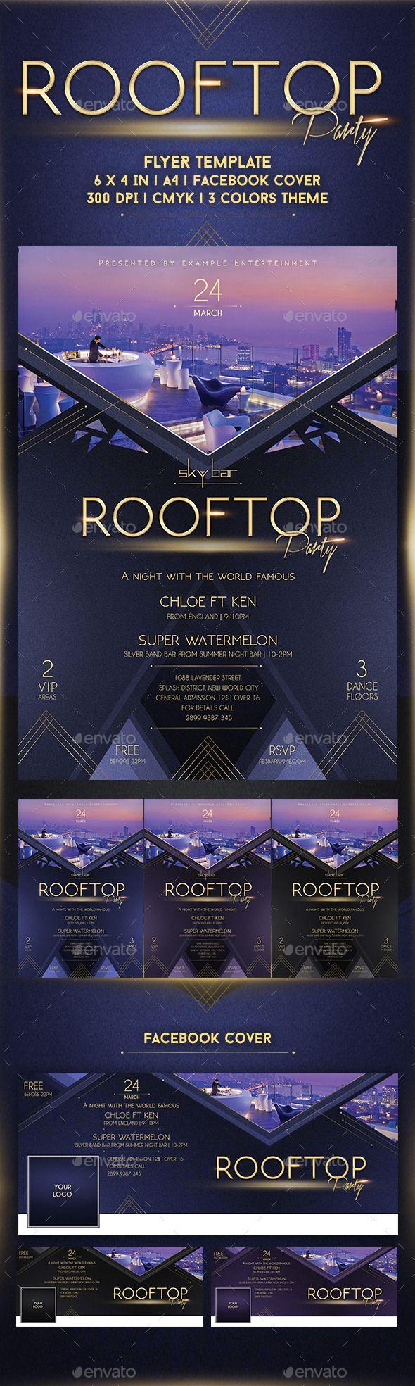rooftop party flyer template cs 6x4 bar black blue celebration
