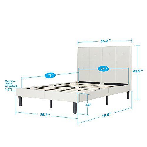 Olee Sleep Faux Leather Wood Slat Full Bed Frame With Headboard, Light Grey  U2013 A Luxury Bed U2013 Silk Sheets Bedspreads Luxury Bedding