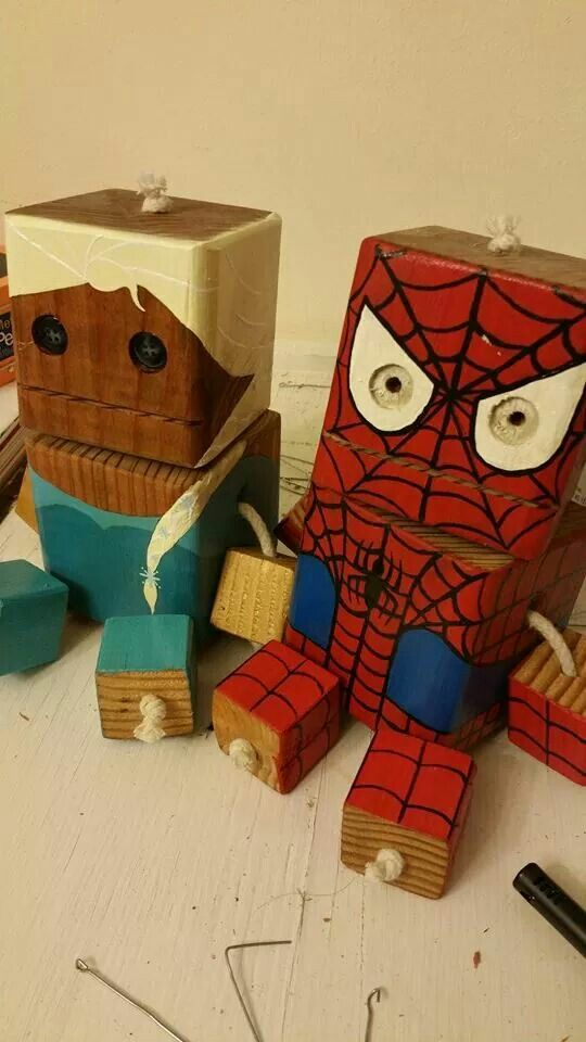 Spiderman Shelf Sitter Wooden Puppet Hand Made /& Hand Painted Choose Your Size