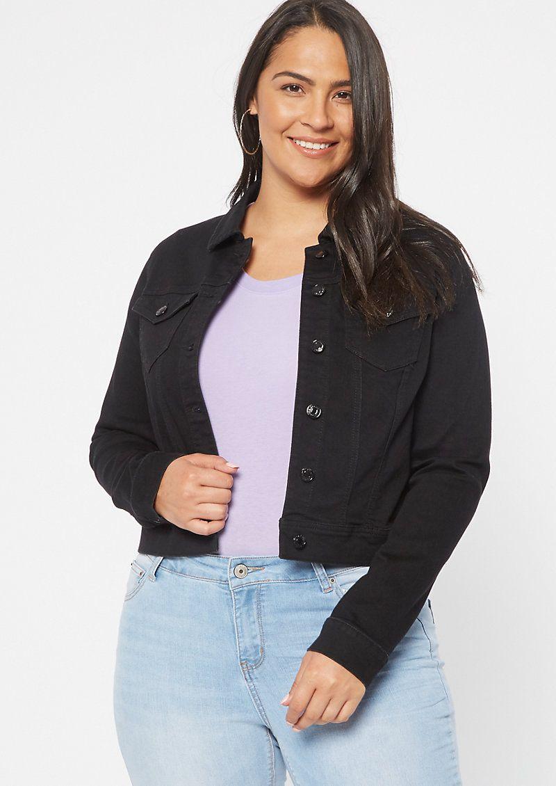 Plus Size Black Soft Stretch Jean Jacket Women S Plus Size Jeans Jean Jacket For Girls Black Jean Jacket [ 1130 x 800 Pixel ]