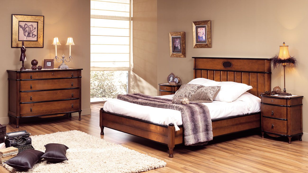 dormitorio clasico de matrimonio modelo toscana en madera