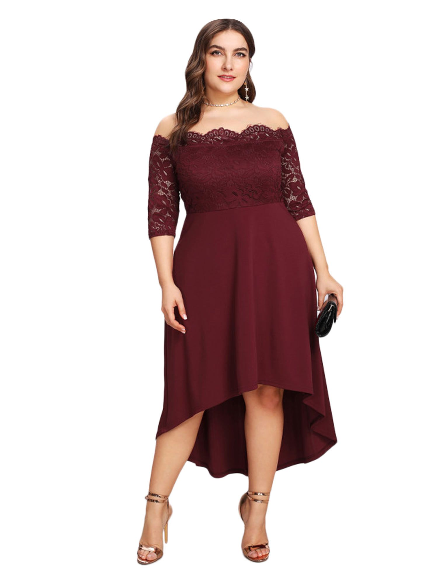 Womenus plus size floral lace offtheshoulder cocktail formal swing