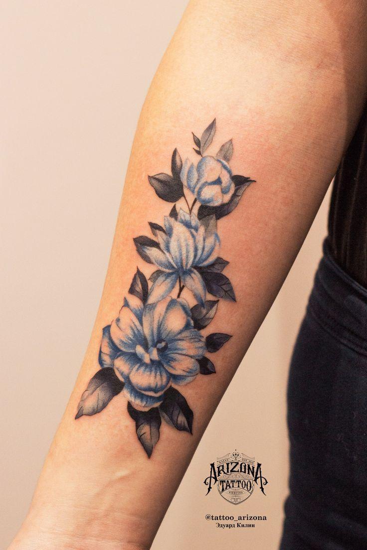 Flower tattoo on forearm new school by Eduard Kilin
