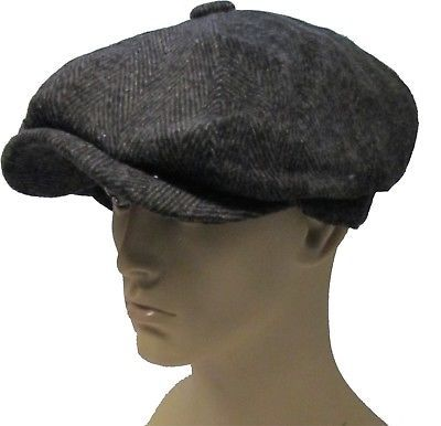 3c9bbd7b654 Peaky blinders newsboy herringbone gatsby cap hat flat 8 panel baker boy  mens