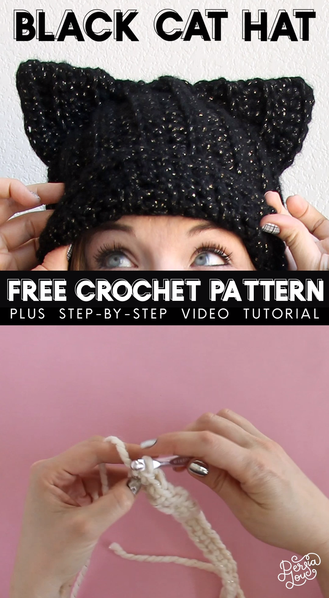 Learn how to crochet your own cat ear hat with this free crochet pattern and video tutorial. This hat has a ribbed texture and subtle slouched shape. It's great for beginning crocheters! #crochethat #crochetcathat #crochetpattern #crochetvideo #video #crochethatpattern #halloweencrochet #freecrochetpattern