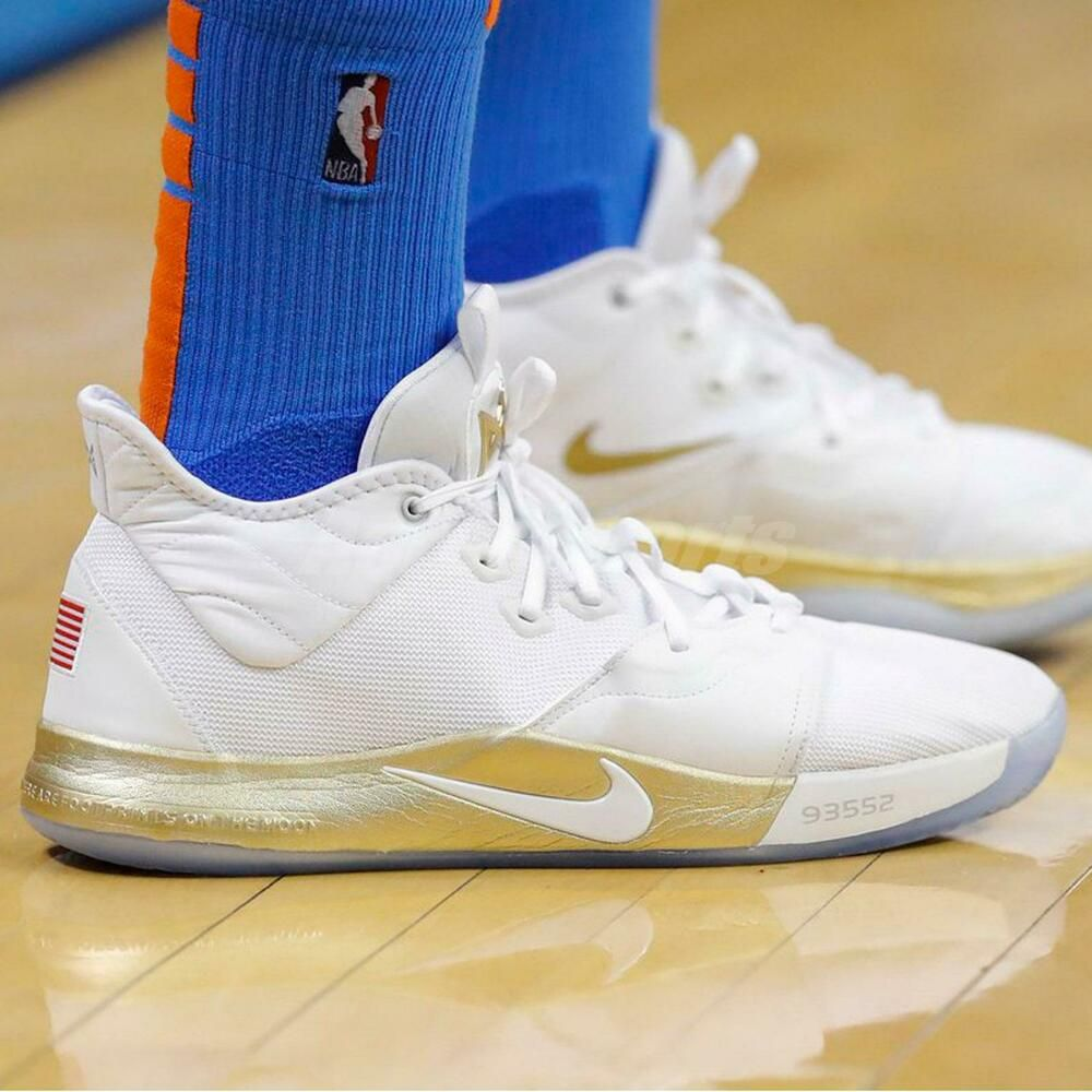Nike PG 3 NASA EP Apollo Missions White Gold Paul George
