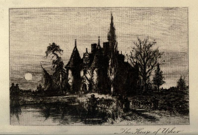A deep and dark drawing of the House of Usher. It looks to