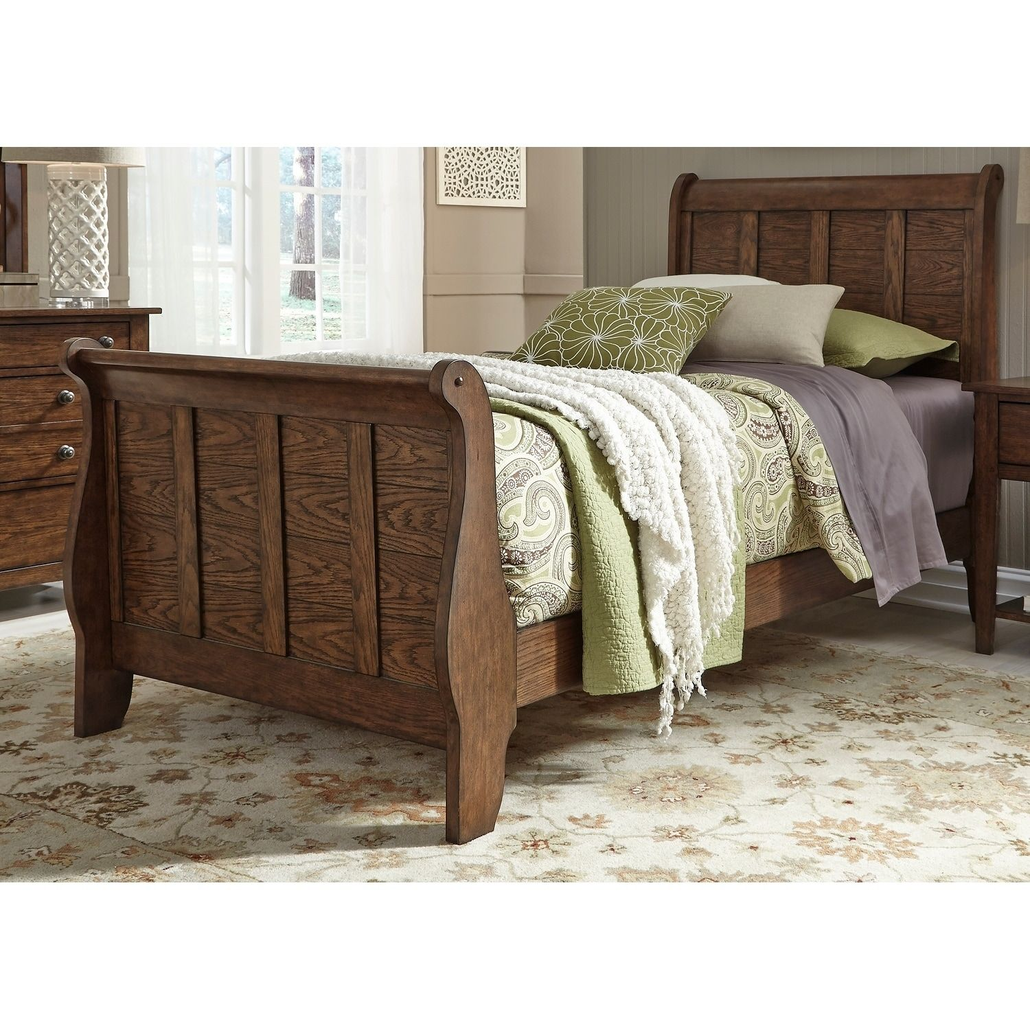 Liberty Grandpas Cabin Pebble Rock Sleigh Bed (Twin), Brown