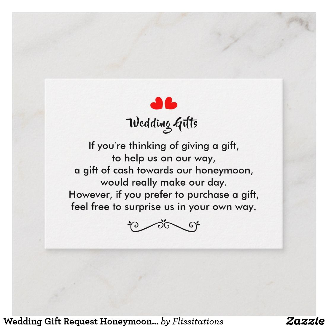 Wedding Gift Honeymoon Poem: Wedding Gift Request Honeymoon Money Personalized