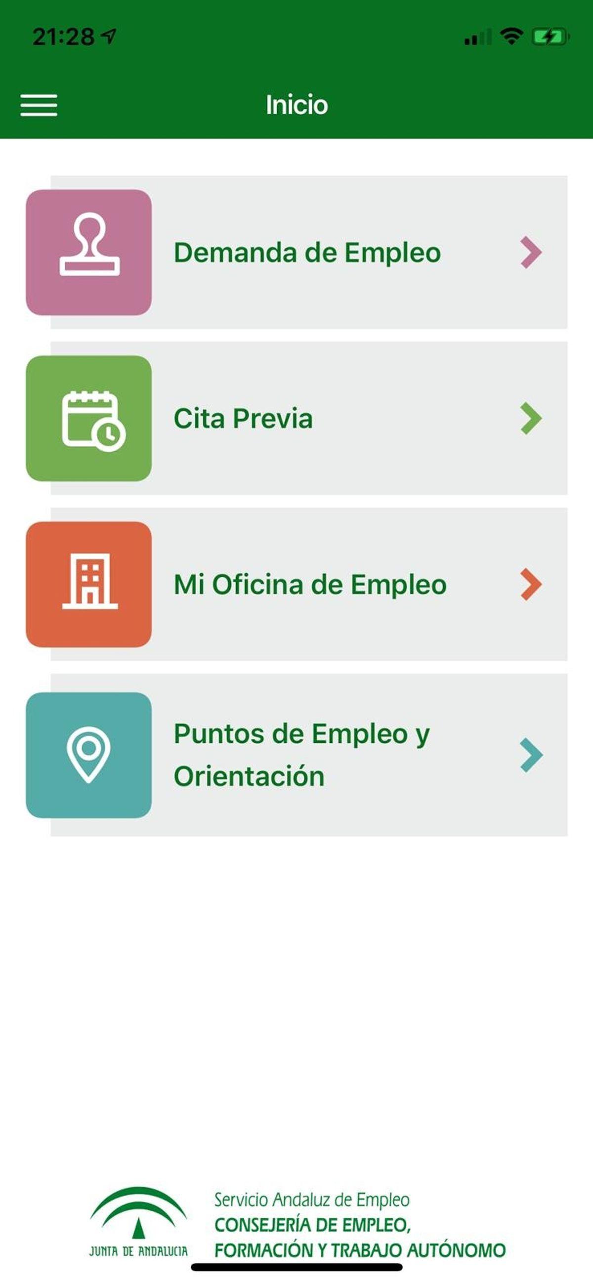 menu principal de la app del SAE