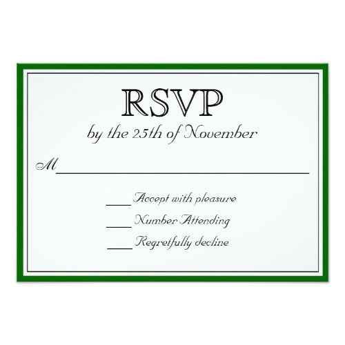 classic rsvp with dark green border card formal wedding