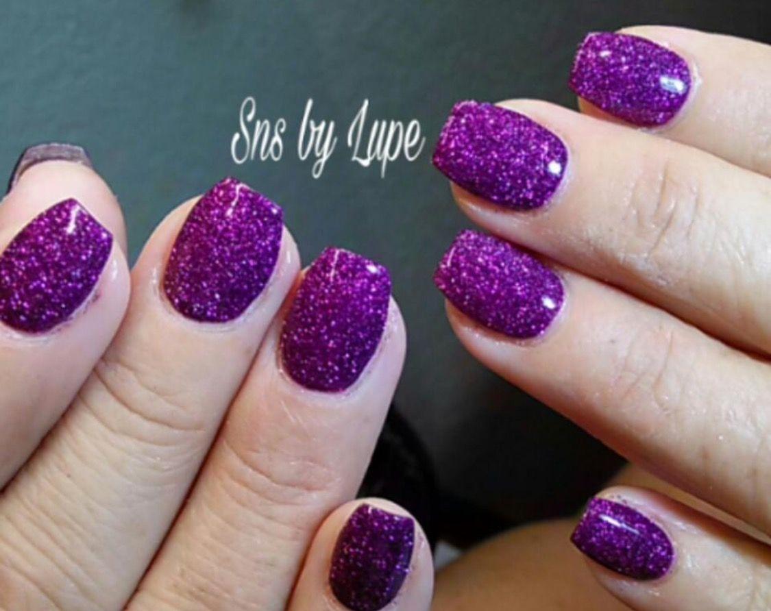 Purple SNS nails (dipping powder nails). | Nail Envy | Pinterest ...