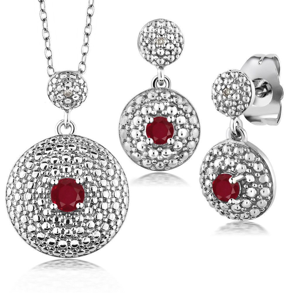 ct red ruby diamond rhodium plated pendant earrings set