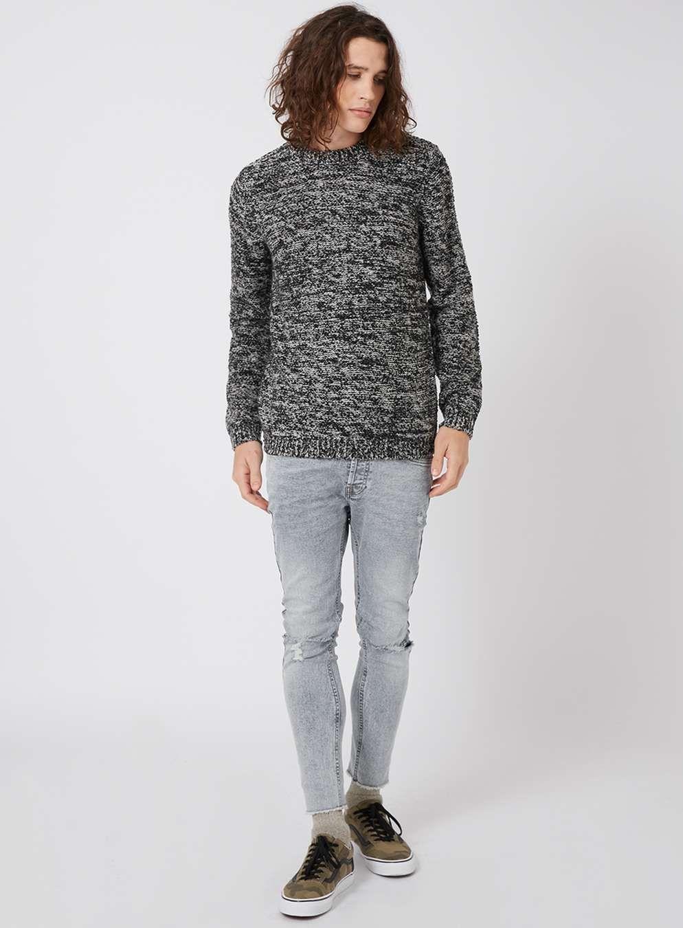 Schmaler Pullover mit unregelmäßiger Struktur, schwarz und weiß