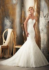 Bridal Dress: Mori Lee Bridal SPRING 2013 Collection: 1916 - Beaded Alencon Lace Appliques on Soft Net over Chantilly Lace