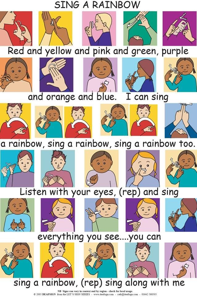 Sing A Rainbow Colours British Sign Language Sign Language Songs Makaton Signs