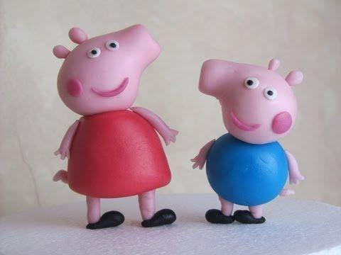 ▶ Peppa Pig and George in fondant tutorial - Tutorial come fare Peppa Pig in pasta di zucchero - YouTube