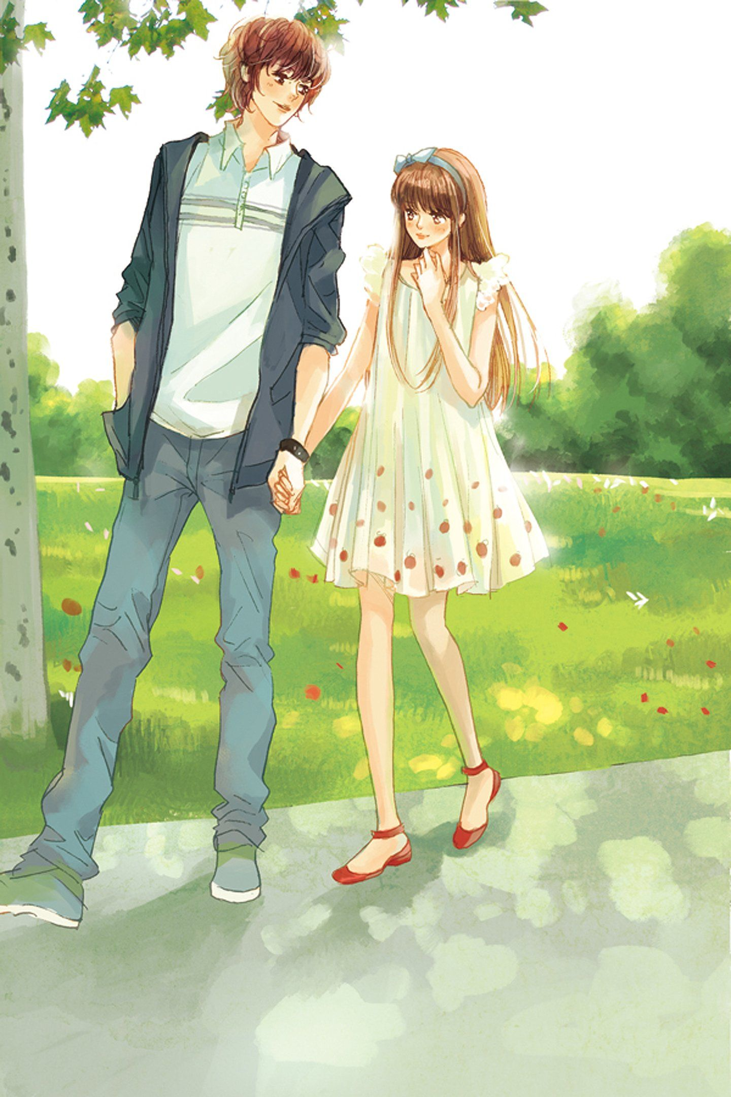 love anime couple boy girl tree red shoes white dress wallpaper