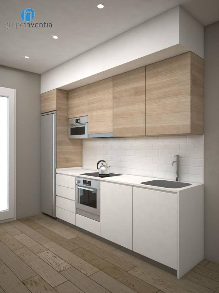 Вариант для прямой 3 метровой кухни. Контраст белого и дерева ...