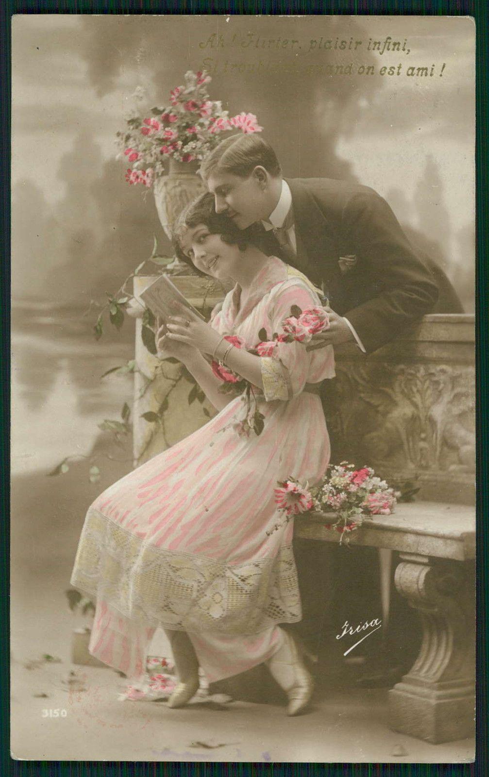 Edwardian Lady Love Romance Couple original vintage old
