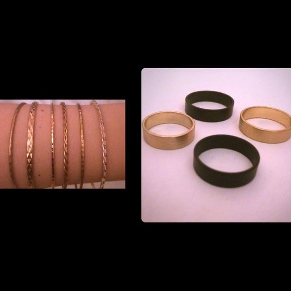 Set of 6 bangles & rings! Set of 6 beautiful bangles! 5 are gold tone and the 6th is a silver color with gold dots on it &Ring set from urban outfitters! Black and gold tone. They range in size are sizes 5,6,7, and 8  worn once or twice. Price firm Vintage Jewelry