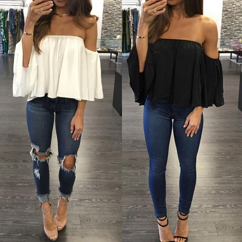 3d9f3364e94cf Off Shoulder 3 4 Sleeve Pleated Chiffon Blouse