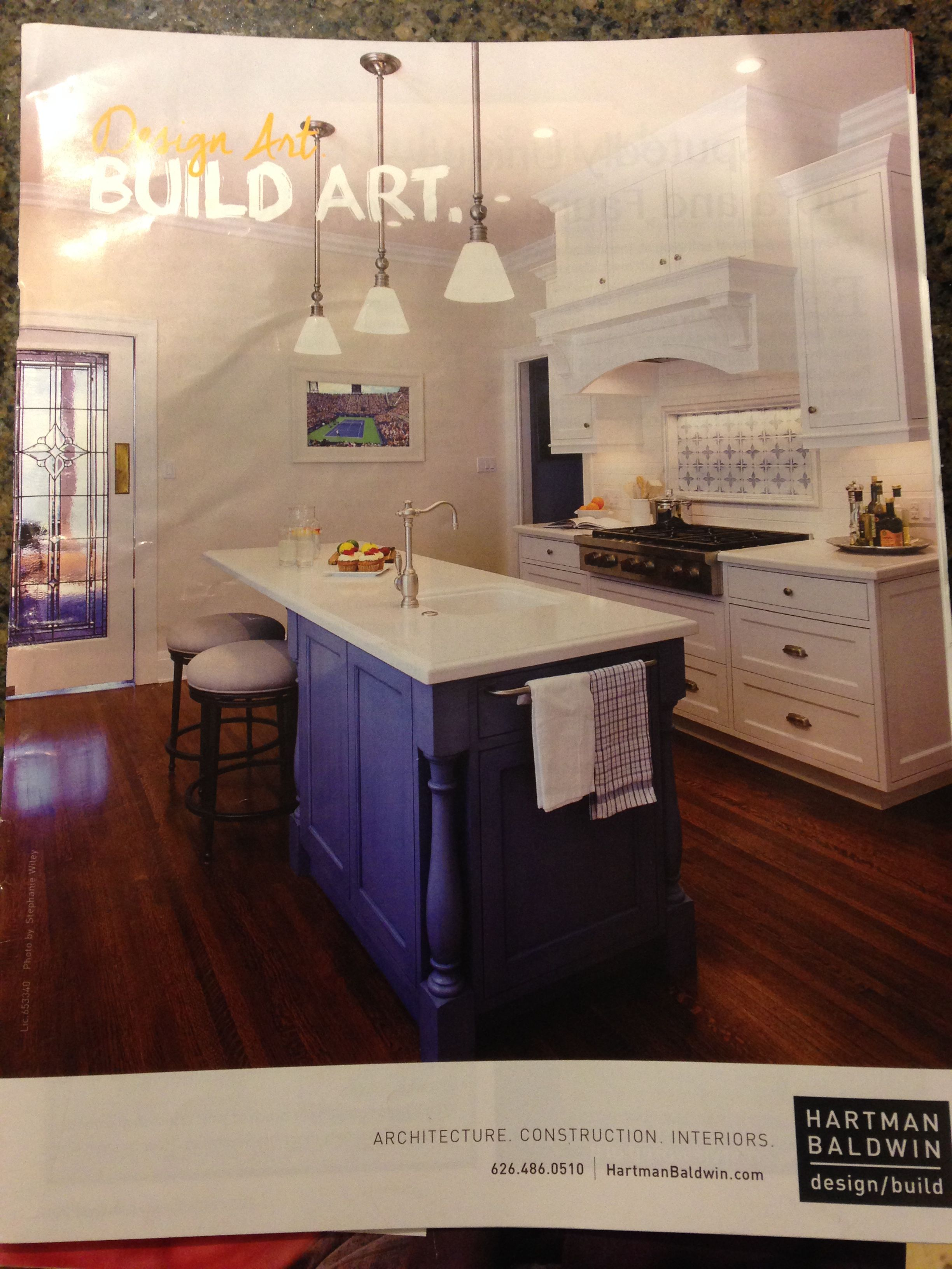 White countertops and cabinets- blue island