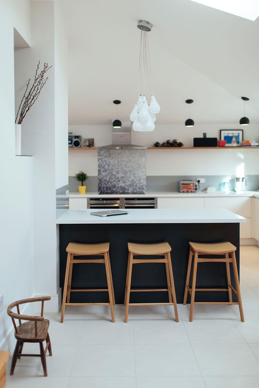 White Kitchen Units Black Worktop white pendant light. black pendant light. wooden kitchen stools