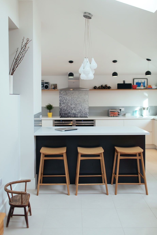 White Pendant Light Black Pendant Light Wooden Kitchen Stools - Matt grey kitchen units