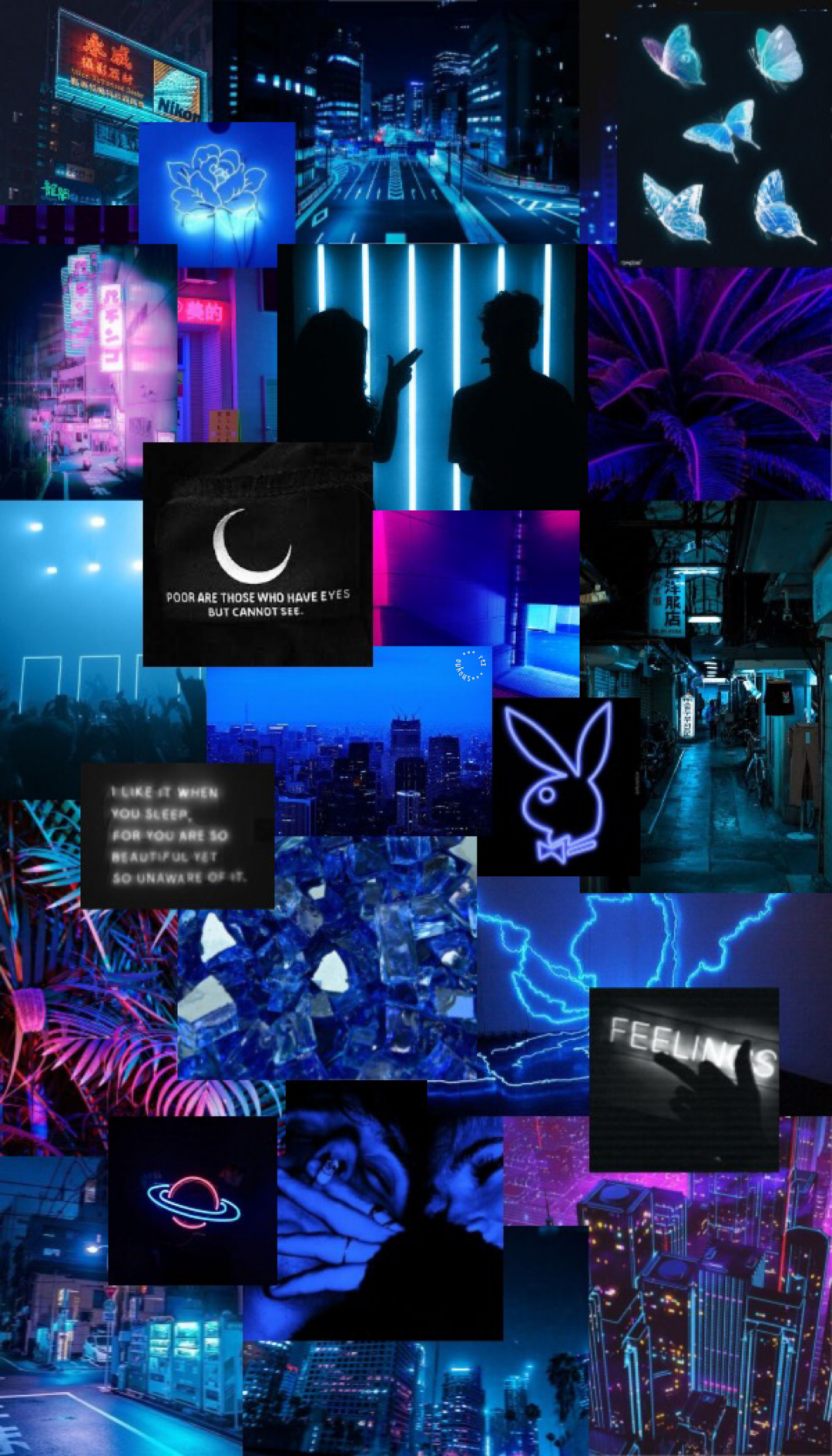 neon blue aesthetic iphone wallpaper in 2020 | Blue ...