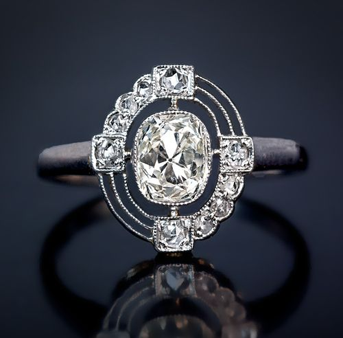An Art Deco Diamond And Platinum Vintage Engagement Ring The