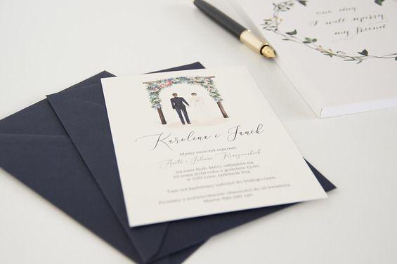 Watercolor Wedding Invitations With Bride And Groom Zaproszenia