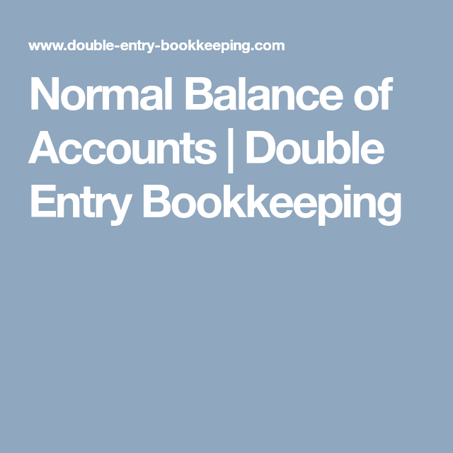 what is normal balance in accounting