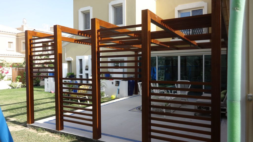 exterior unique design wooden pergola for modern backyard home using green grass also comfy
