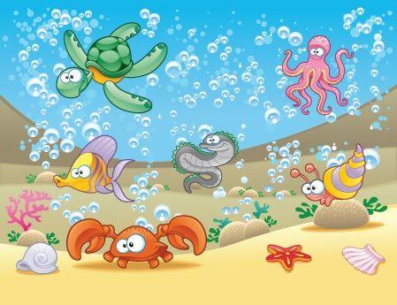 Ο βυθός της θάλασσας   Παιδικά   Cartoon sea animals, Animal wallpaper,  Animal decor