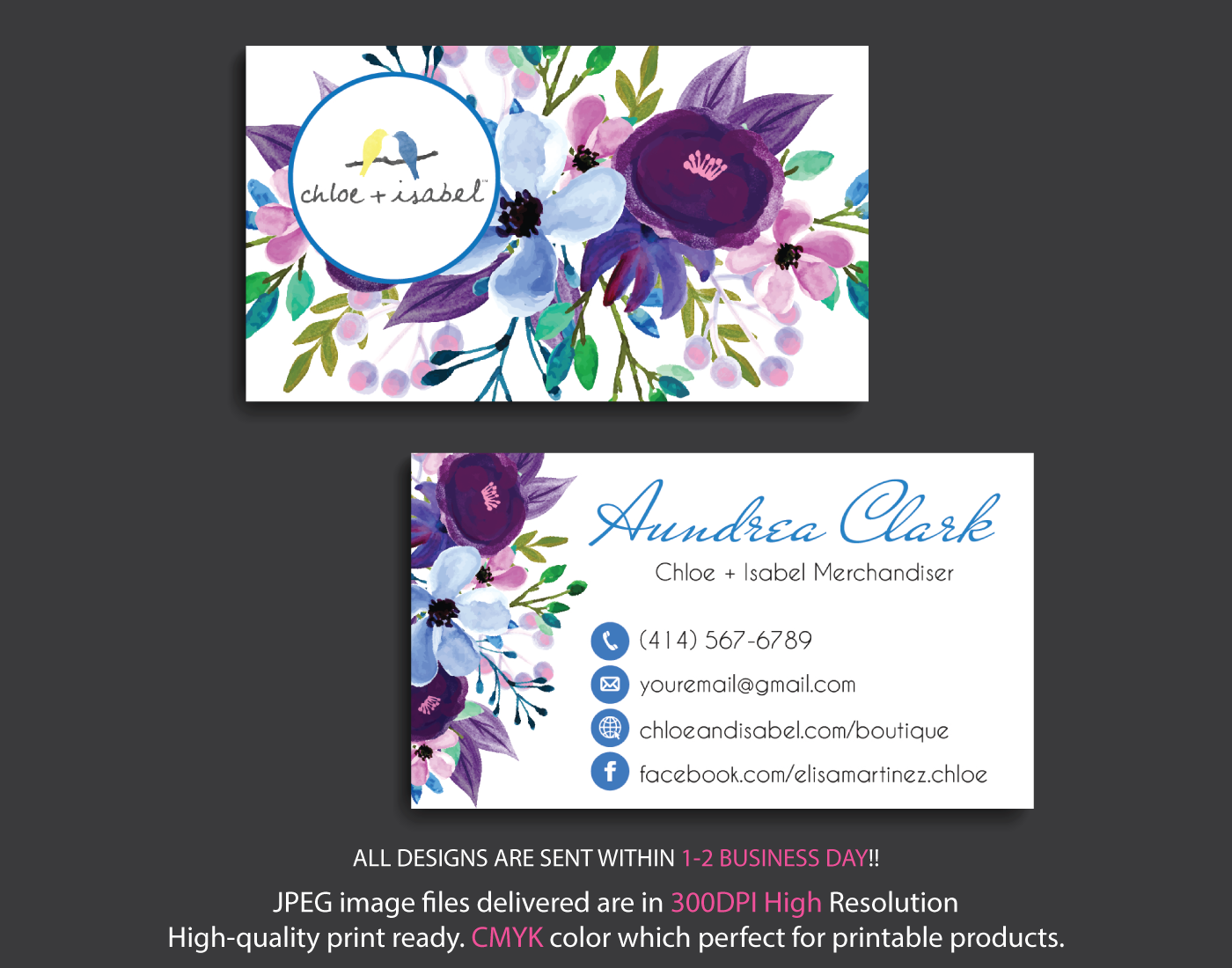 Chloe And Isabel Business Card Watercolor Chloe And Isabel Business Card Cli99you Are Purchasi Business Cards Watercolor Custom Business Cards Personal Cards