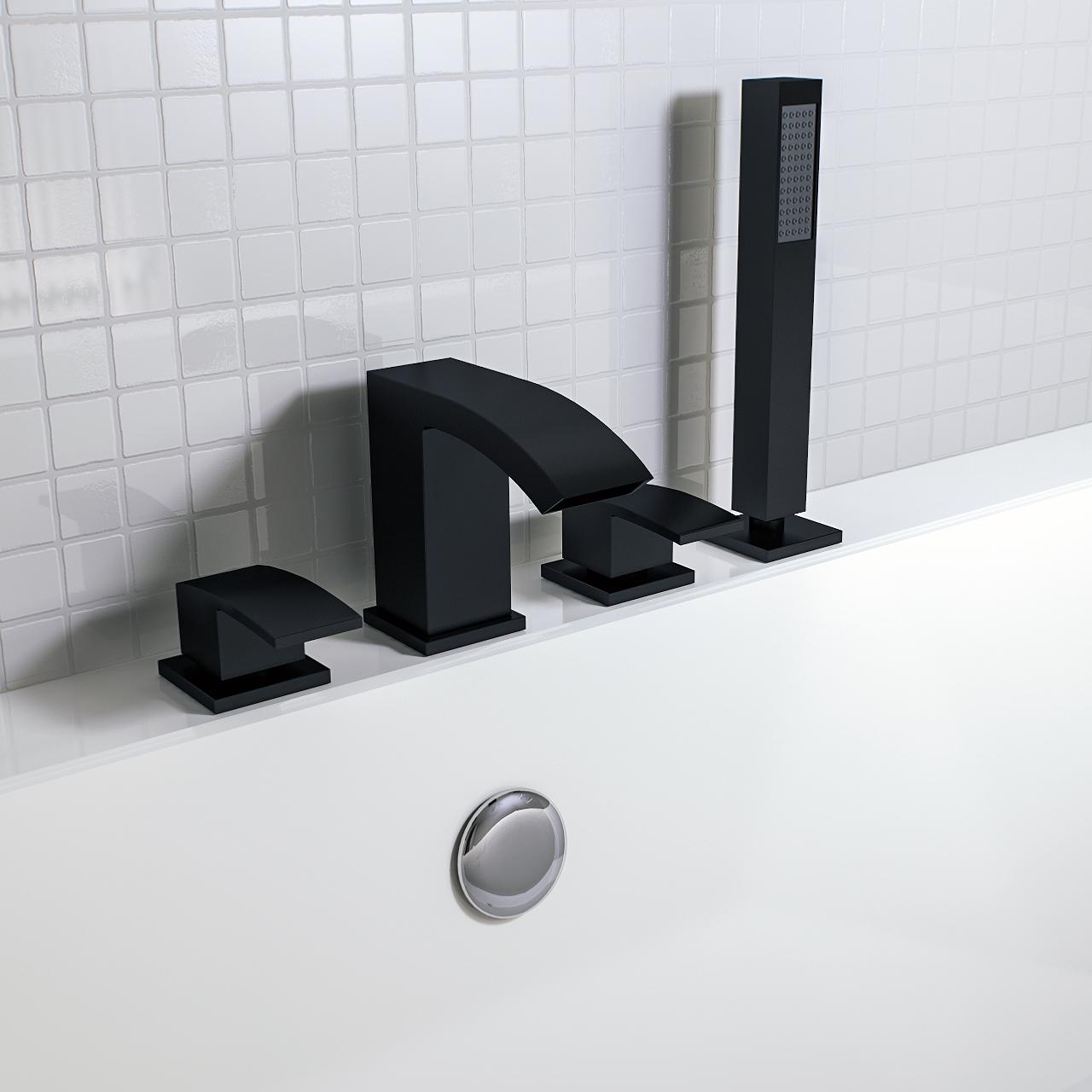 Flow Black 4 Hole Bath Shower Mixer Tap In 2019