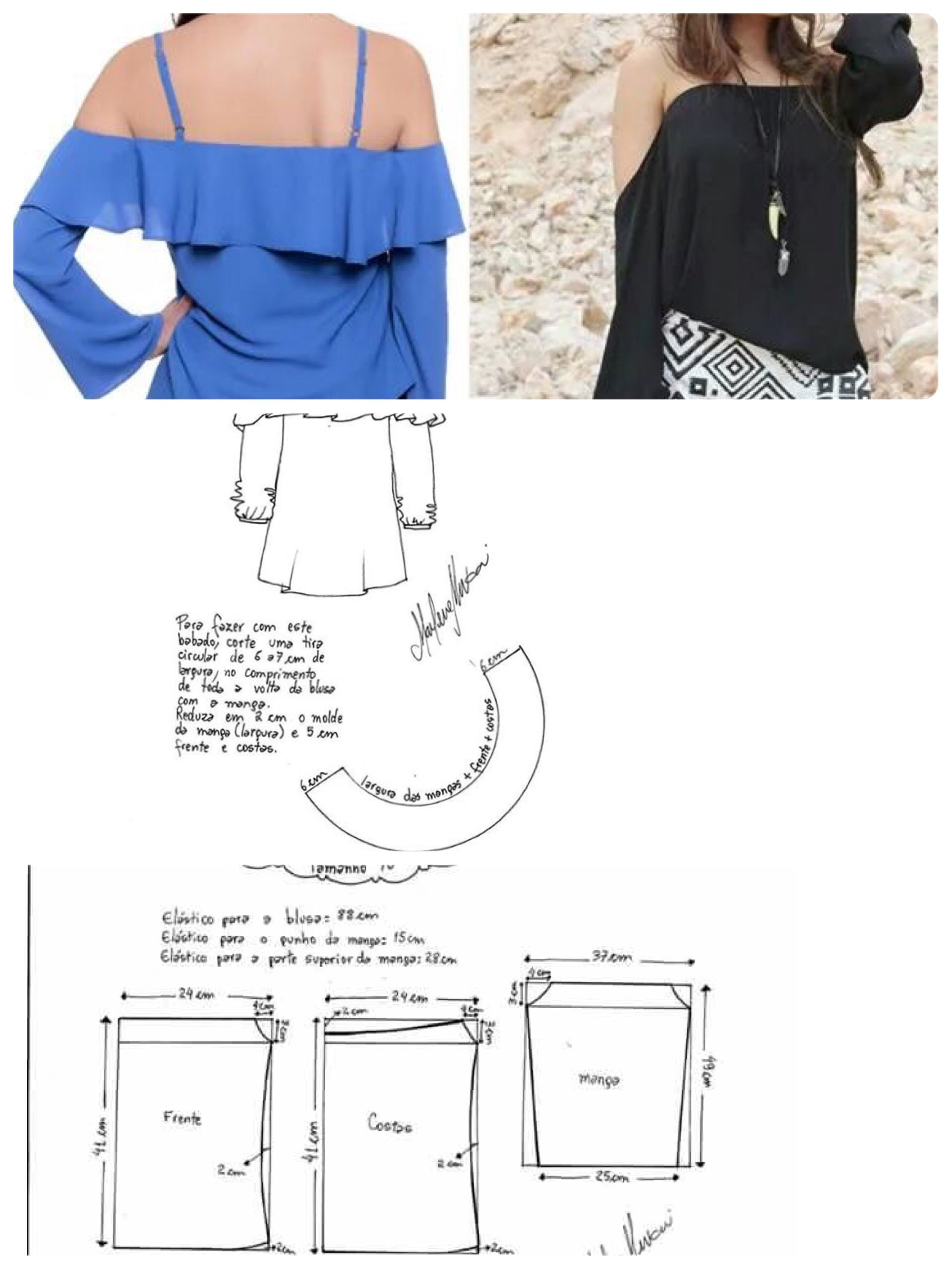Off shoulder blouse | Patrones / moldes / patterns | Sewing, Sewing ...