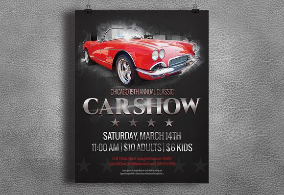 Car Show Flyer - Vintage / Classic by Nathan Knight Design on Creative Market