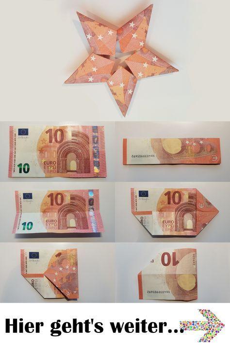 Stern aus 5 Geldscheinen falten - Diese Anleitung zeigt Dir, wie aus 5 Geldscheinen mit ein paar einfachen Tricks ein toller Geldschein gefaltet wird. Verschenke Geld auf kreative Art und bastel diesen Geld-Stern! #geldgeschenk #origami #eurogami #geldgeschenke #tutorial #diy #stern #weihnachten #origamianleitungen