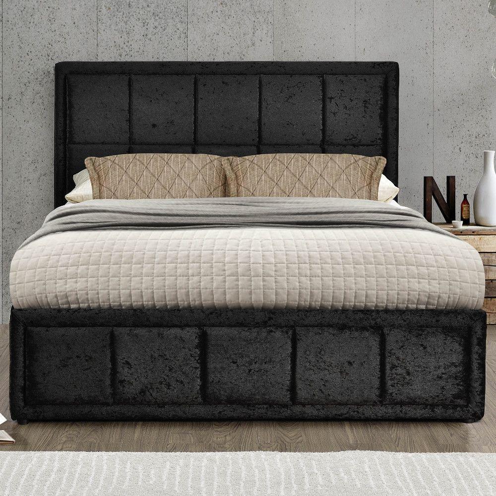Hannover Black Velvet Fabric Ottoman Storage Bed Frame 4ft Small
