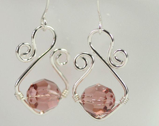 Dusty Rose Swarovski Crystal Earrings Wire Wrapped Jewelry