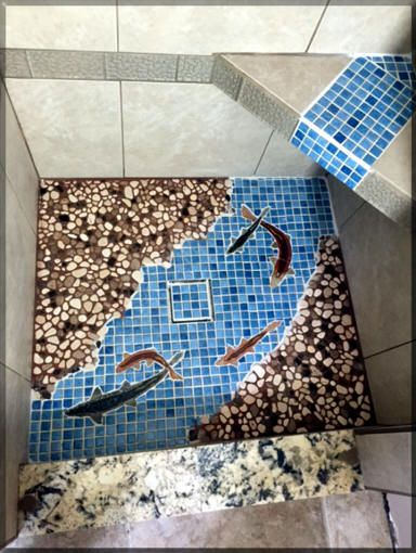 Blue Ceramic Tile Shower Floor With Fish Tiles Rock