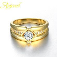 Ajojewel brand high quality luxury gold plated zirconia men wedding band rings with simulated diamond (US size 8910 )