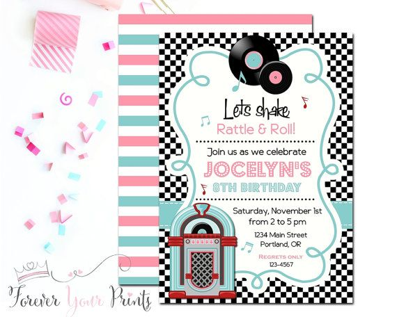 50 S Sock Hop Invitation Girls Sock Hop Party By Foreveryourprints