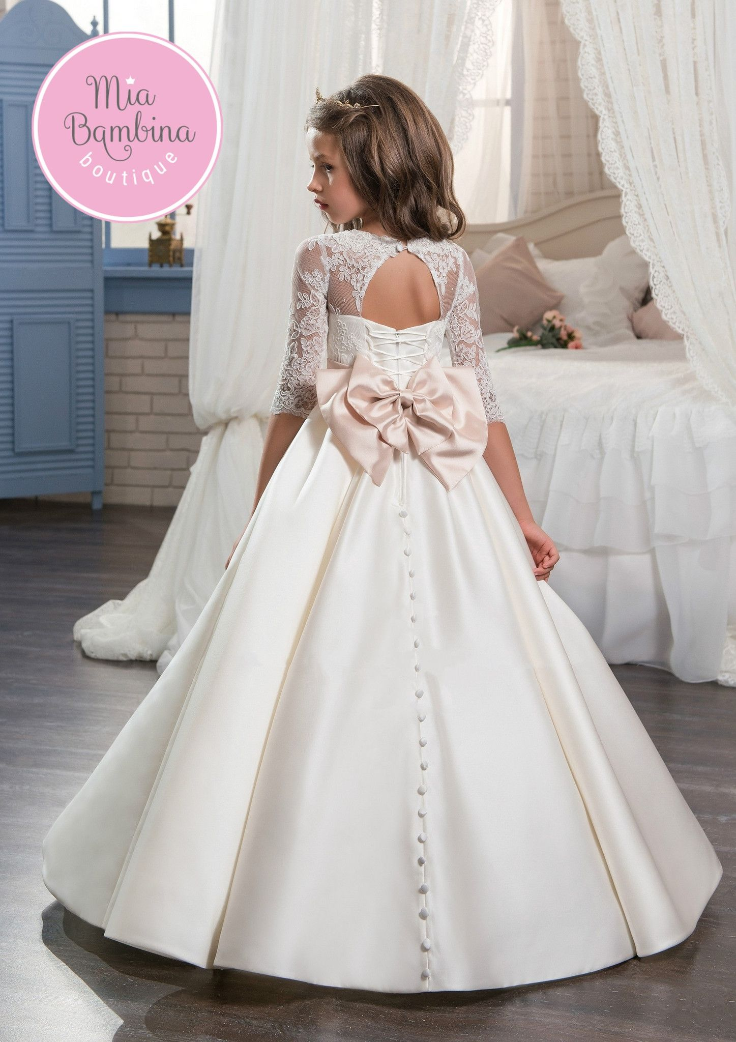 Lexington projects to try pinterest girls dresses dresses and the lexington flower girl dress is a lovely chic dress for special occasion the top with 34 length lace sleeves a tie back waist lace up back with a izmirmasajfo